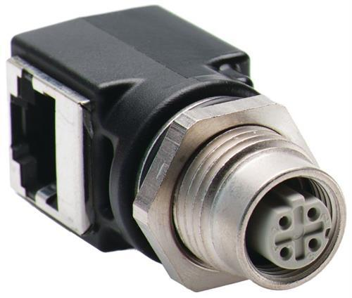 ETHERNET CONNECTOR, M12D TO RJ45 product photo Front View L